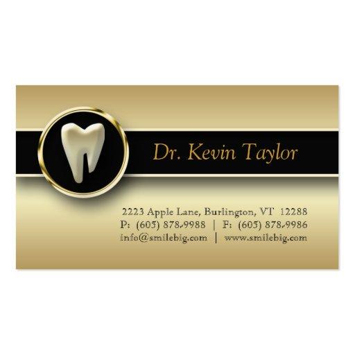 Dental Molar Business Card Gold Metallic