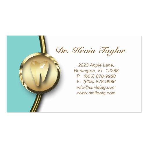 Dental Molar Business Card Gold White Blue