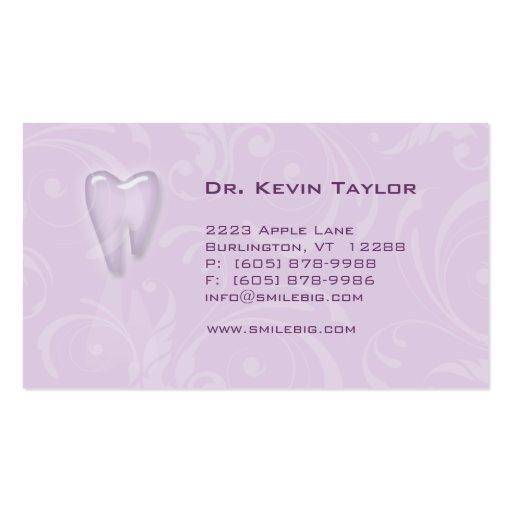 Dental Molar Business Card Violet Purple swirls