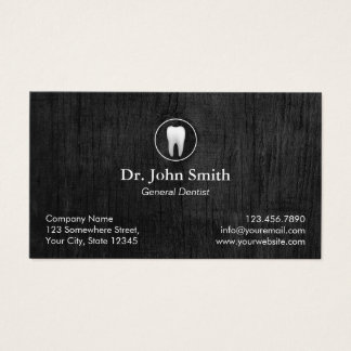 Dental Office Classy Dark Wood Dentist Appointment Business Card