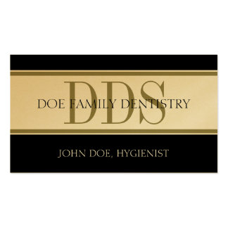 Dental Office Stripes DDS White/Gold Paper Business Card