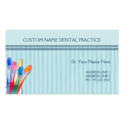 Dental Practice Toothbrush Stripes Double-Sided Standard Business ...