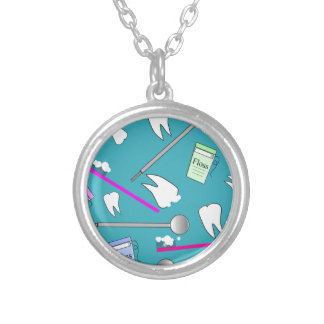 Dental Profession Tools Design Silver Plated Necklace