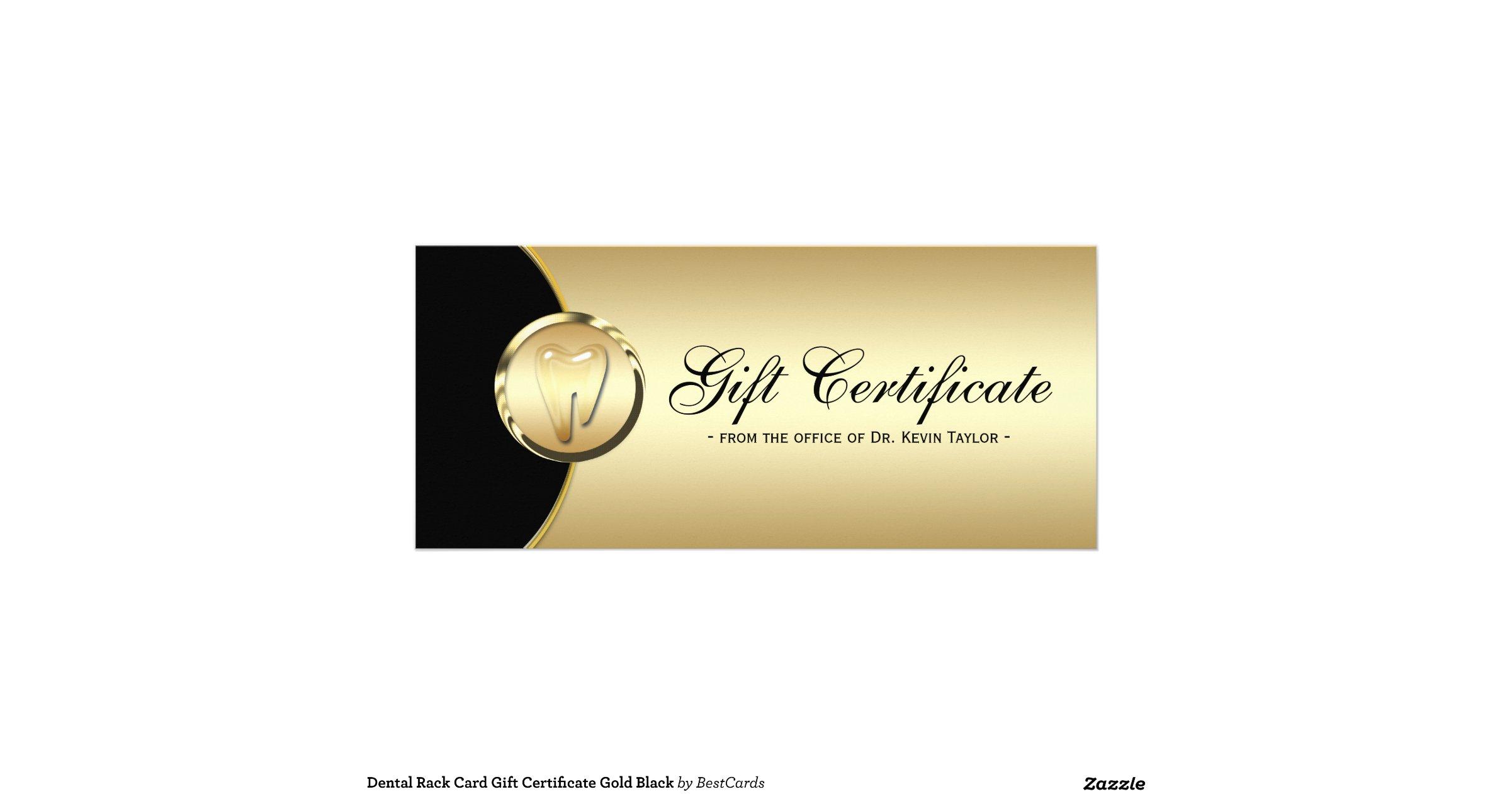 Dental rack card gift certificate gold black for Dental gift certificate template