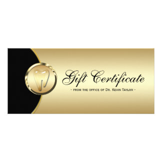 Dental Rack Card Gift Certificate Gold Black