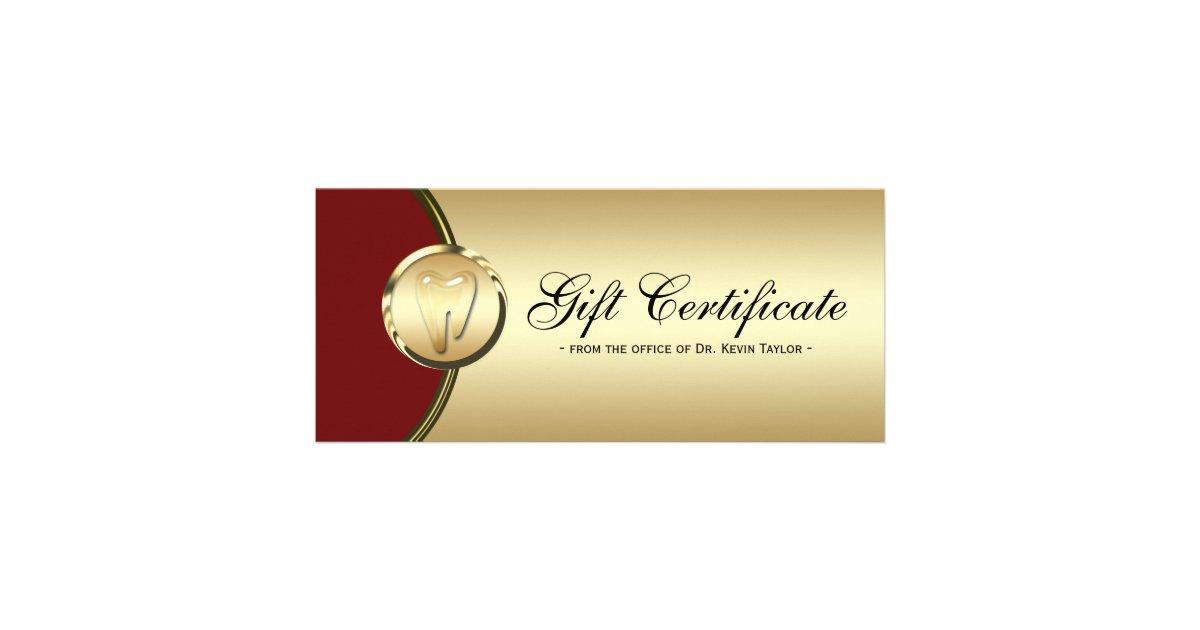 Dental rack card gift certificate gold molar red zazzle for Dental gift certificate template