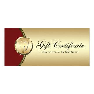 Dental Rack Card Gift Certificate Gold Molar Red