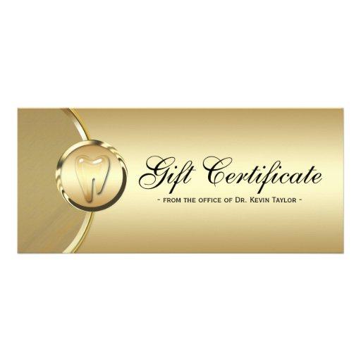 Dental rack card gift certificate gold molar tooth zazzle for Dental gift certificate template