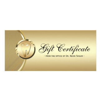 Dental Rack Card Gift Certificate Gold Molar Tooth