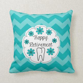 Dental Retirement Teal Chevron Throw Pillow