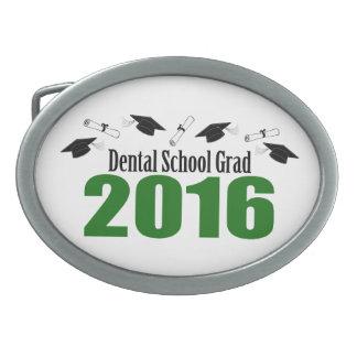 Dental School Grad 2016 Caps And Diplomas (Green) Oval Belt Buckle