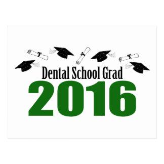Dental School Grad 2016 Caps And Diplomas (Green) Postcard