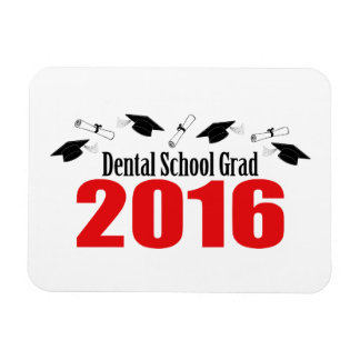 Dental School Grad 2016 Caps And Diplomas (Red) Magnet