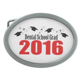Dental School Grad 2016 Caps And Diplomas (Red) Oval Belt Buckle