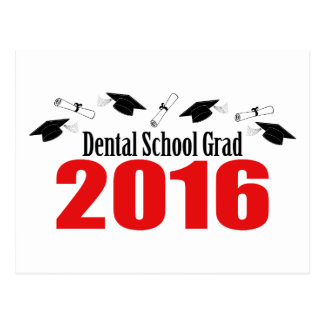 Dental School Grad 2016 Caps And Diplomas (Red) Postcard