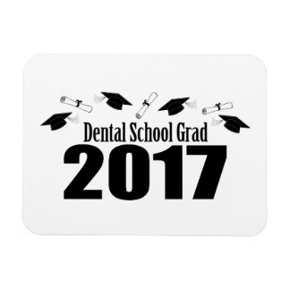 Dental School Grad 2017 Caps And Diplomas (Black) Magnet