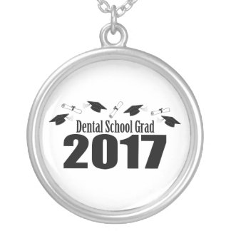 Dental School Grad 2017 Caps And Diplomas (Black) Silver Plated Necklace