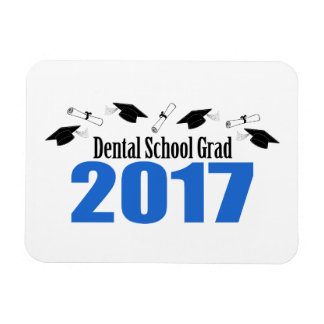 Dental School Grad 2017 Caps And Diplomas (Blue) Magnet