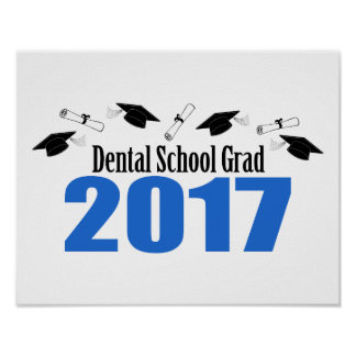 Dental School Grad 2017 Caps And Diplomas (Blue) Poster
