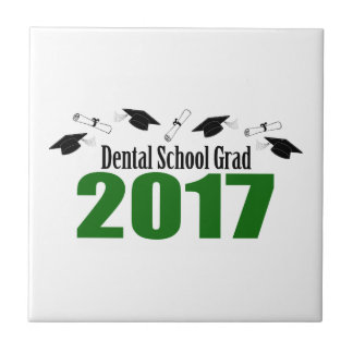 Dental School Grad 2017 Caps And Diplomas (Green) Ceramic Tile