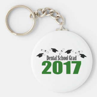 Dental School Grad 2017 Caps And Diplomas (Green) Keychain