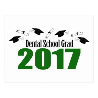 Dental School Grad 2017 Caps And Diplomas (Green) Postcard