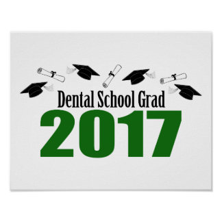 Dental School Grad 2017 Caps And Diplomas (Green) Poster
