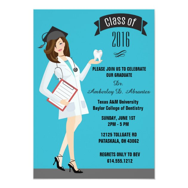 Dental School Graduation Invitation - Female DDS