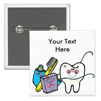 Dental Stuff for Dentist Day March 6th 2 Inch Square Button
