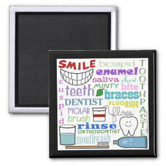 Dental Terms Subway Art 2 Inch Square Magnet