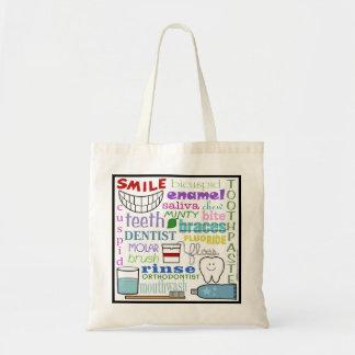 Dental Terms Subway Art Tote Bags