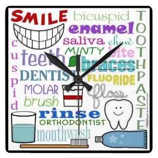 Dental Terms Subway Art Square Wall Clock