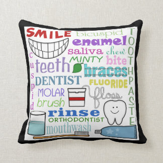 Dental Terms Subway Art Throw Pillow
