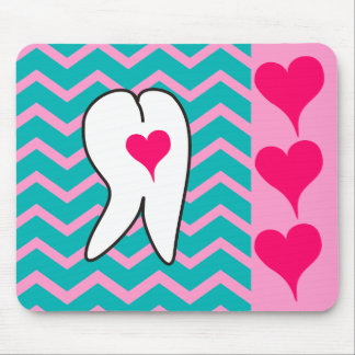 Dental Tooth and Chevron Design Mouse Pad