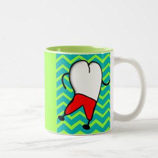 Dental Tooth and Chevron Design Two-Tone Coffee Mug