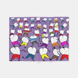 Dental Tooth Art Fleece Blanket Purple