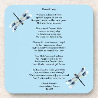 Dented Halo Poem Cork Coaster