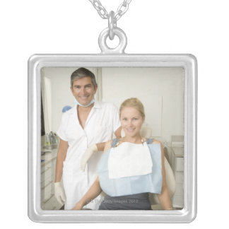 Dentist and patient, Portrait Silver Plated Necklace
