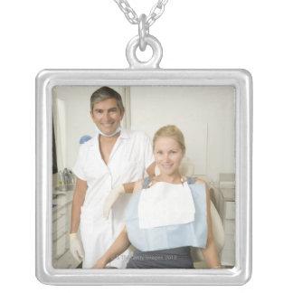 Dentist and patient, Portrait Square Pendant Necklace