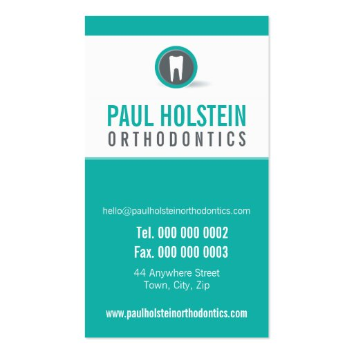 DENTIST APPOINTMENT CARD :: modern tooth logo 2 Business Card Template