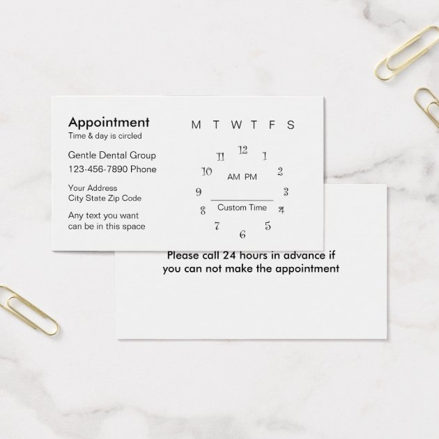 Dentist Appointment Card Template   Zazzle
