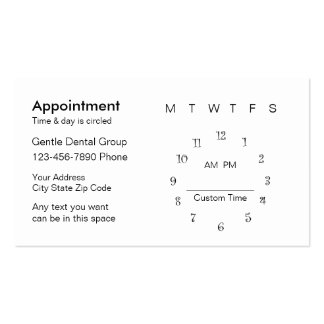 Dentist Appointment Card Template Business Card