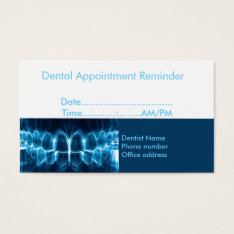 Dentist Appointment Reminder Business Card at Zazzle