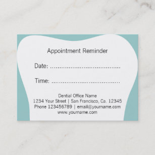 Dental business cards templates zazzle dentist appointment reminder cards dental office accmission