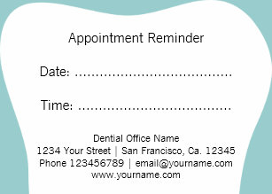 dentist appointment reminder cards dental office - Dental Appointment Cards
