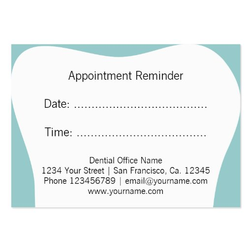 Dentist appointment reminder cards | dental office business card