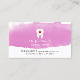 Dental business cards templates zazzle dentist appointment tooth heart watercolor dental reheart Image collections