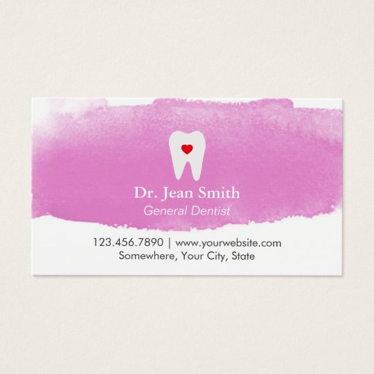 Dentist Appointment Tooth Heart Watercolor Dental Business Card ...