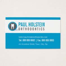 Dentist Business Card :: Modern Tooth Logo Blue at Zazzle