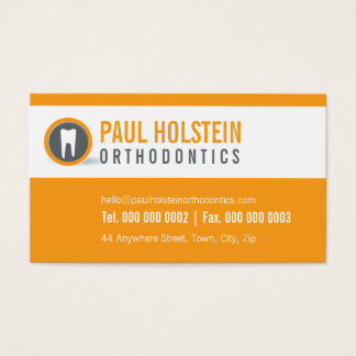 DENTIST BUSINESS CARD :: modern tooth logo orange